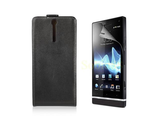 Flip Leather Case Cover For Sony Xperia S LT26i + LCD Guard Black PC435B-NE1