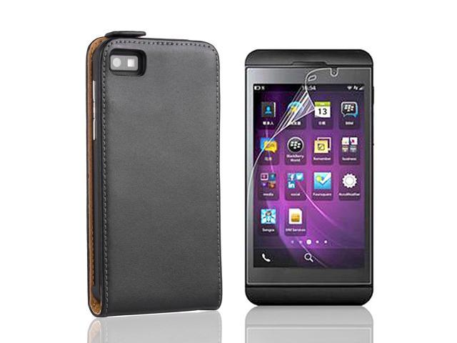 Vertical Faux Leather Case Cover For BlackBerry Z10 + Protector Black PC489B