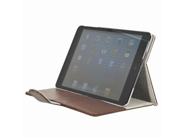 Brown Flap PU Leather Folio smart Case Pocket Card Slots for iPad Mini PC349Z