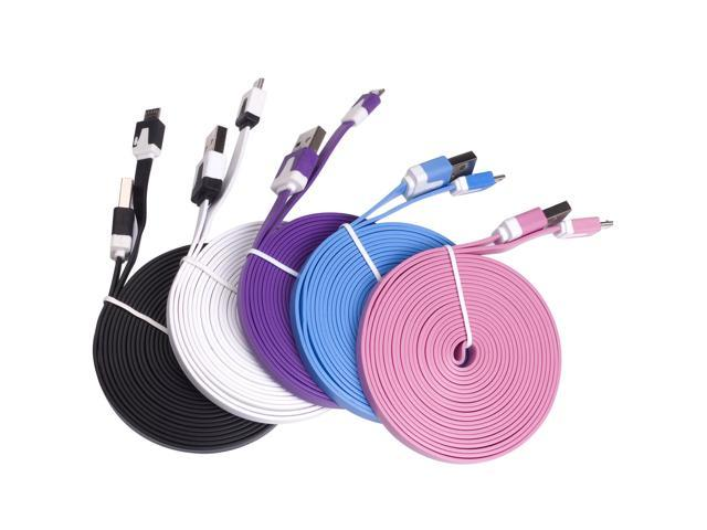 Wholesale 2 pack of 5X 5 Colors Micro USB Data Sync Cable Charger For Samsung GALAXY S3 HTC AC122x2