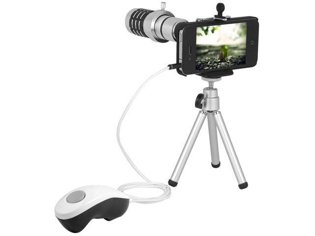 12x Zoom Telephoto Lens+ Tripod + Case + Remote Control For iPhone 4S 4G 4 DC304