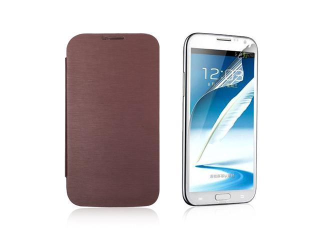 Folio Leather Case Cover For Samsung Galaxy Note II N7100 + Protector PC397Z