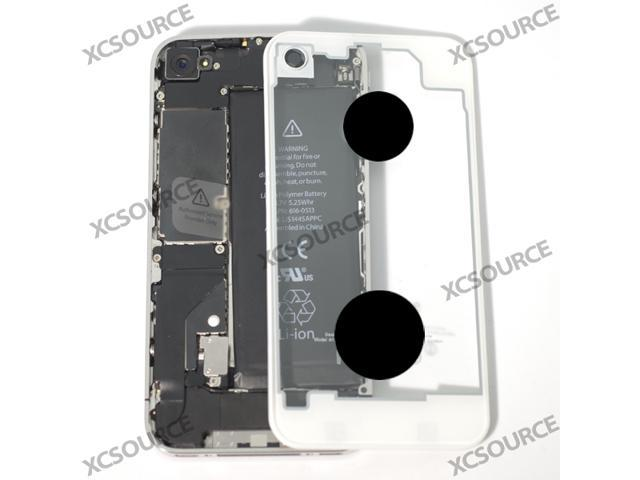 WHITE clear glass Transparent Battery Cover housing plate for iphone 4/4G RP26
