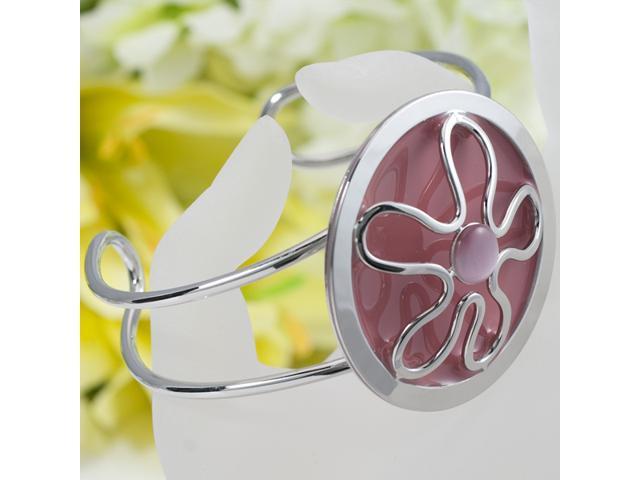 Gorgeous Silver Plated Flower Bangle bracelet B23