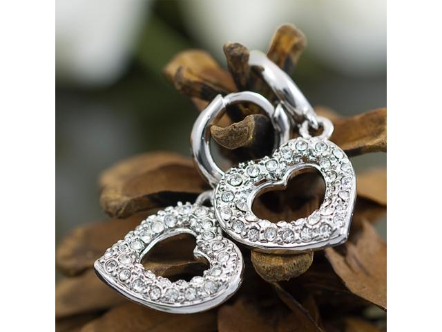 2 CZ Heart 18K GP Crystal Swarovski Earrings E31