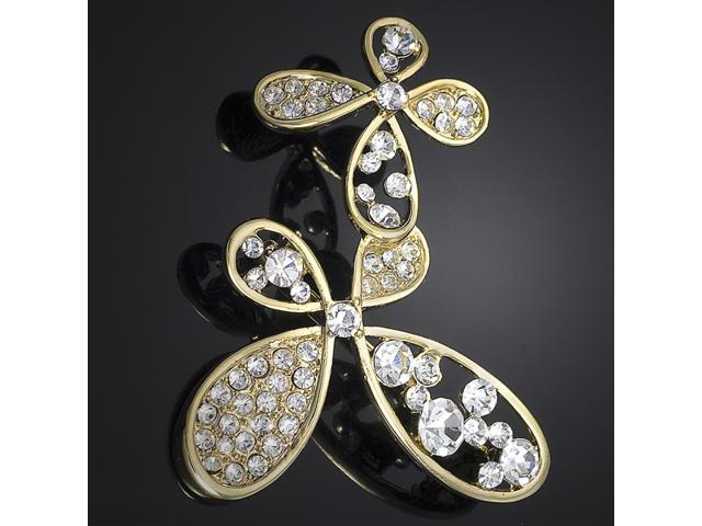 Clear Crystals Double Butterfly Pin Brooch P9