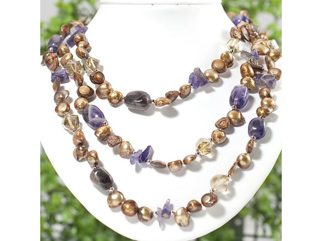 "54"" Reborn Keshi Pearl & Purple Amethyst Necklace N118"