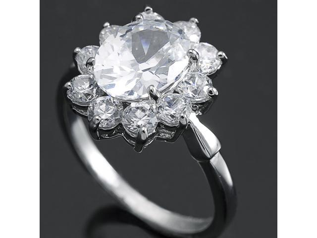 New Stunning Solitaire CZ White Gold Ring R123C Sz8