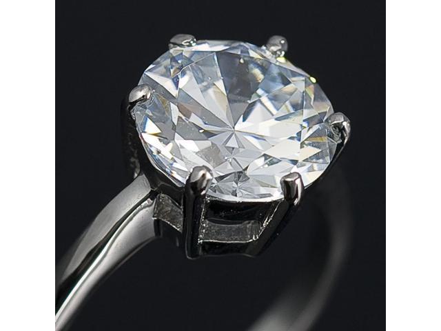 Solitaire Round CZ Ring 18K White GP Wedding R51 Size 7