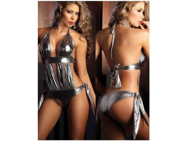PVC Costume bikini Lingerie Lingerie Costume Lingerie set Leotards the naughty Lingerie Nightdress Bathrobe Evening Wedding Bride female gray ONE SIZE