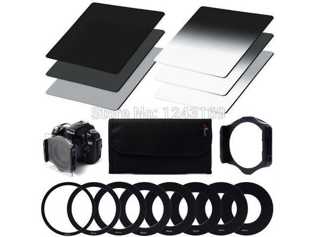 Xcsource® 6pcs ND2 ND4 ND8 Gradual ND2 4 8 Filter Set + 9pcs Ring Adapter for Cokin P LF6-SZ