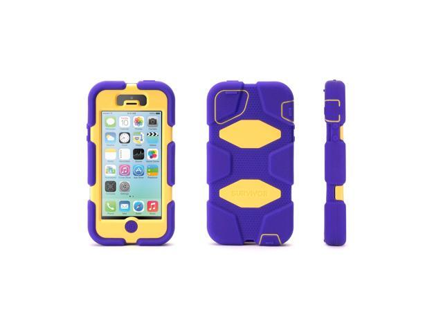 Griffin Purple/Yellow Heavy Duty Survivor All-Terrain Case for iPhone 5/5s, iPhone SE   Military-Duty Case