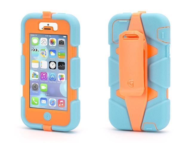 iPhone 5/5s, iPhone SE Rugged Case, Survivor All-Terrain, Turquoise/Orange,Military-Duty Case
