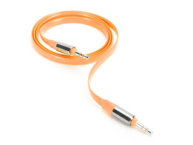 Griffin Orange Fluoro Fire Tangle Resistant Flat AUX Cable   Flat AUX cables in hot fluorescent colors