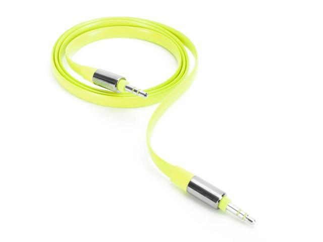 Griffin Citron Fluoro Fire Flat AUX Cable   Flat AUX cables in hot fluorescent colors