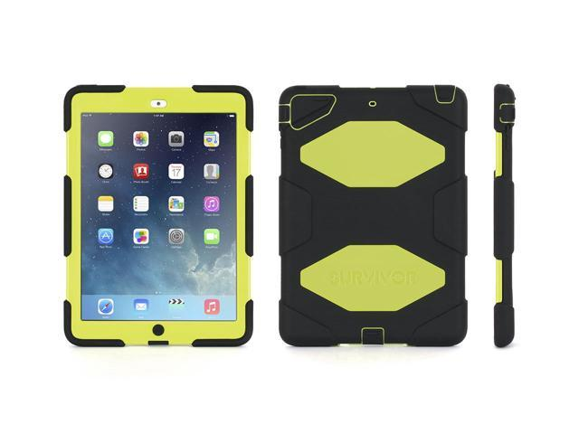 iPad Air Rugged Case, Survivor All-Terrain Case + Stand, Black/ Citron,Military-Duty Case- Direct from Griffin