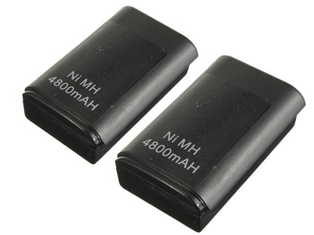 2x 4800mAh USB Rechargeable Battery Pack For Microsoft  Xbox 360 Wireles Controller Black