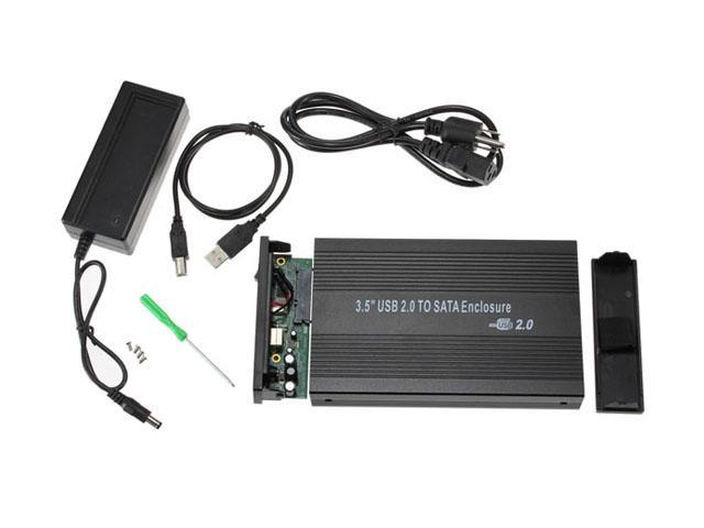 "3.5"" 3.5 inch USB 2.0 to SATA HDD Hard Drive Disk External Case Enclosure Black"