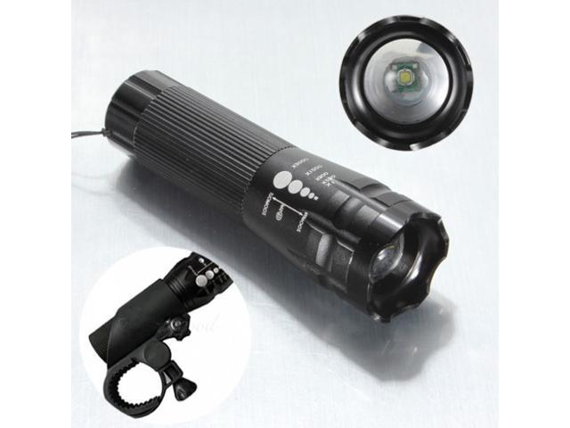 Bike Bicycle CREE XPE Q5 LED 300Lm Head Front Light AAA Flashlight +Clip Black