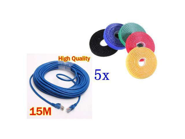 15M 50 FT RJ45 CAT5 CAT5E Ethernet LAN Network Cable+ 5pcs 1M Strap-it Wire Computer Cable Cord Ties Organizer Management ...