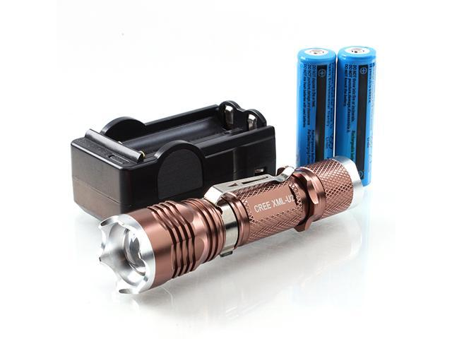 Super Bright UItraFire CREE 1800LM XM-L U2 LED Flashlight Torch Zoomable Light Lamp 18650 +Charger Set