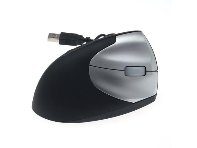 USB 2.0 1600DPI Vertical Wired Mouse Optical Game Gaming Mouse Mice Black+Silver pc laptop