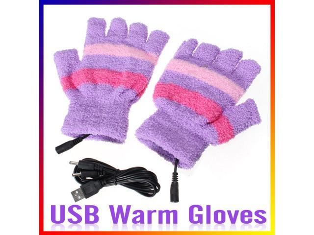 USB Winter Heating Hand Warm Gloves Heated Woolen Fingerless Warmer Mitten