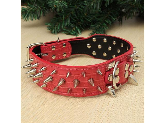 Domineering Spiked Studded Leather Pet Dog PitBull Mastiff Heavy Duty Collar Dogs Christmas Xmas New Year gift Size S