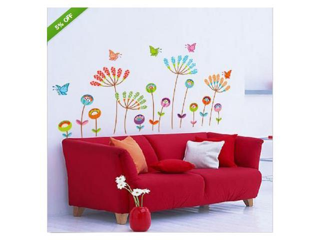 Flower Butterfly Vinyl Decal Removable Wall Stickers Mural Home Decor Children