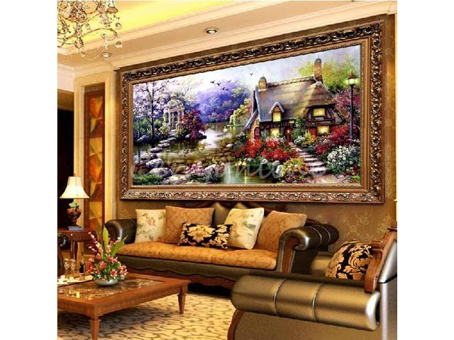 DIY Handmade Cross Stitch Embroidery Kit Garden Cottage Design Home Decor 69*37