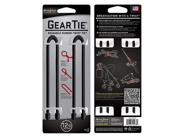 Nite-Ize Gear Tie 12 in., 2 Pack, Black GT12-2PK-01
