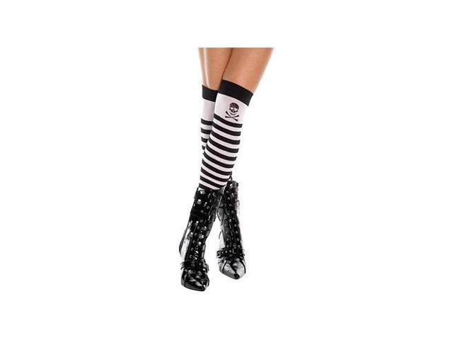 Music Legs Striped Skull & CrossBones Thigh High 4795 Black/White One Size Fits