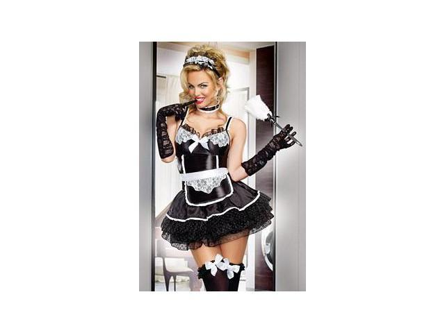 Bonjour Bonjour Maid Costume 9416 by Dreamgirl Black/White Small
