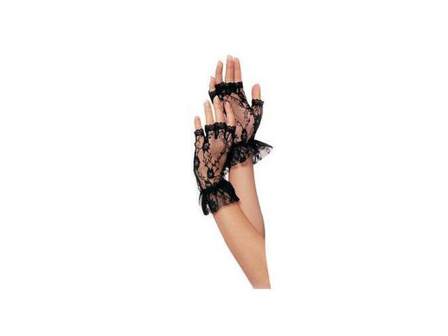 Leg Avenue Fingerless Lace Ruffle Gloves g1205LEG_BL Black One Size Fits All