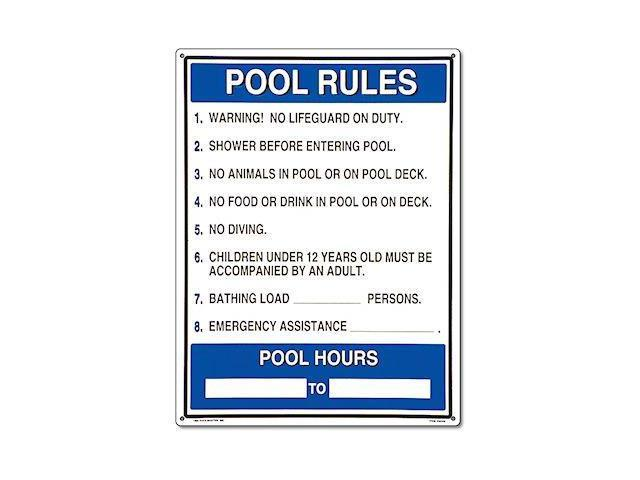 Poolmaster 40326 General Commercial Pool Rules Sign For