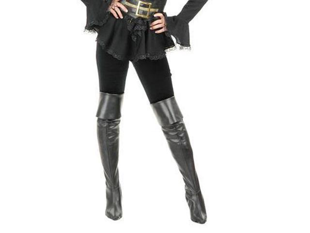 Adult Black Leather Thigh High Boots Charades 60489
