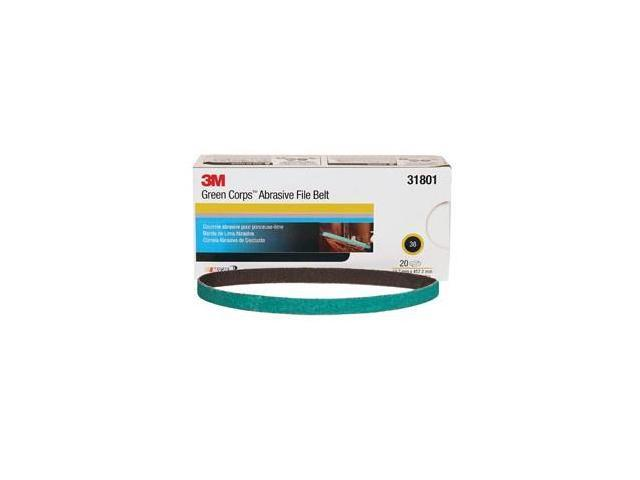 3M 31801 Green Corps 1/2 x 18 Inch 36 Grit Abrasive File Belt