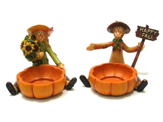 Scarecrow Harvest Candleholders Set of 2