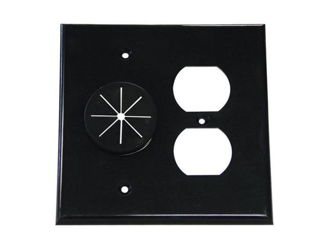 double gang cable pass through wall plate with dual outlet cover black. Black Bedroom Furniture Sets. Home Design Ideas