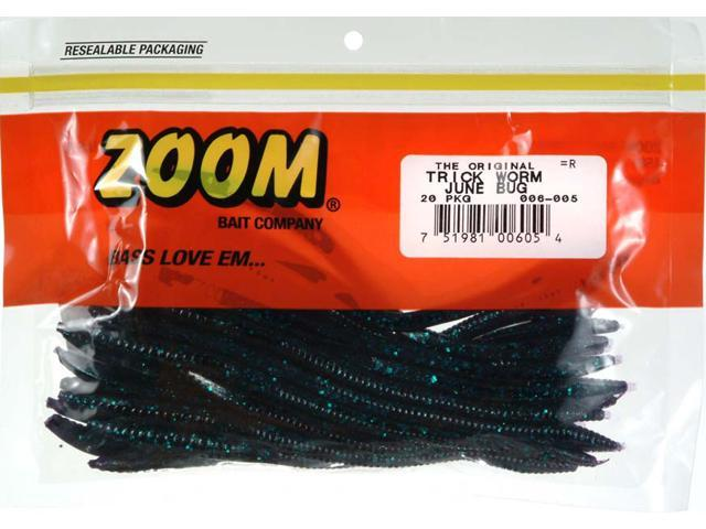Zoom 006 005 junebug trick worm bait soft plastic for Walmart fishing worms