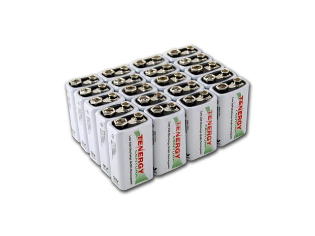 Combo: 20pcs Tenergy Centura NiMH 9V 200mAh Low Self Discharge Rechargeable Batteries