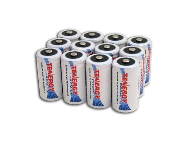 Combo: 12 pcs Tenergy Premium C 5000mAh NiMH Rechargeable Batteries