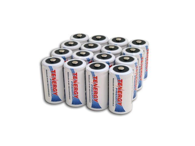 Combo: 16 pcs Tenergy Premium C 5000mAh NiMH Rechargeable Batteries