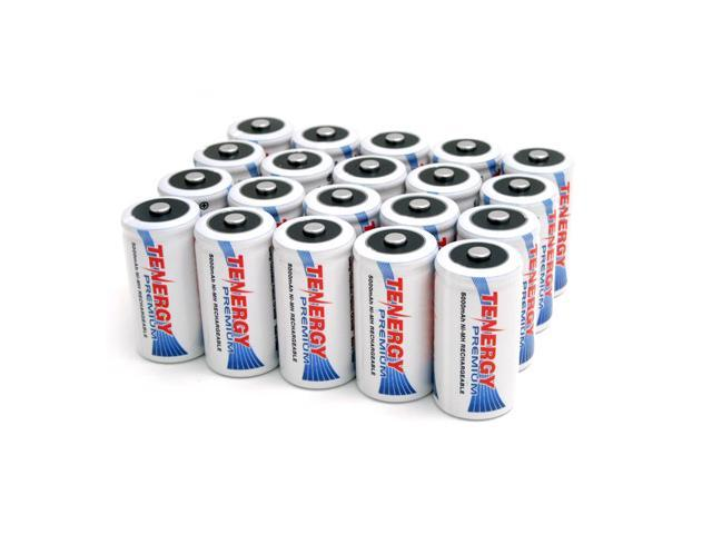 Combo: 20pcs Tenergy Premium C 5000mAh NiMH Rechargeable Batteries
