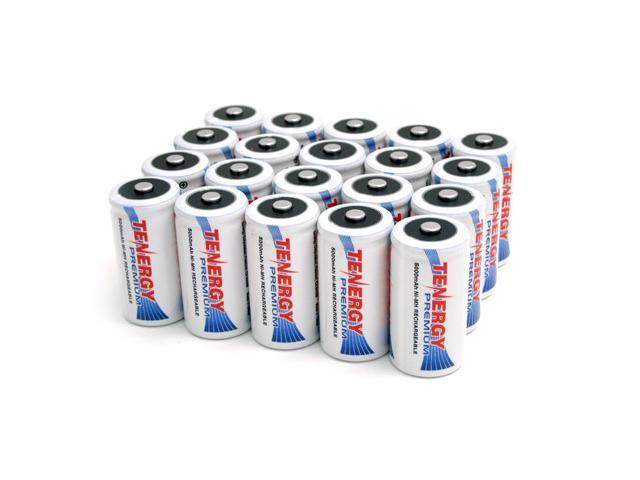 Combo: 20pcs Tenergy Premium C 5000mAh NiMH Rechargeable Batteries
