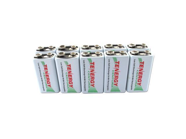Combo: 10pcs Tenergy Centura NiMH 9V 200mAh Low Self Discharge Rechargeable Batteries