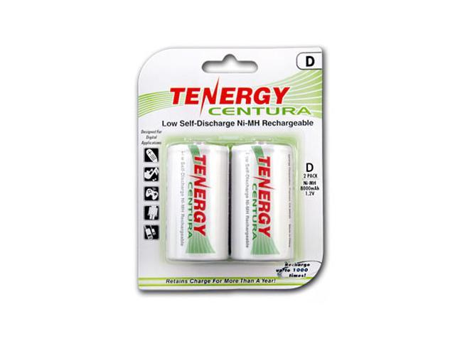 Tenergy Centura D Size 8000mAh Low Self-Discharge (LSD) NiMH Rechargeable Batteries, 1 Card 2xD