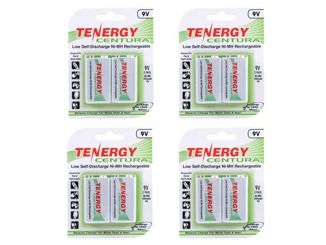 Tenergy Centura NiMH 9V 200mAh Low Self Discharge Rechargeable Batteries, 4 Cards 8 pcs