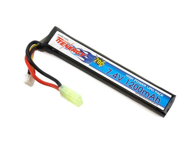 Tenergy LiPO 7.4V 1200mAh 20C Short Stick Battery Pack for Airsoft Guns with Mini Tamiya Connector
