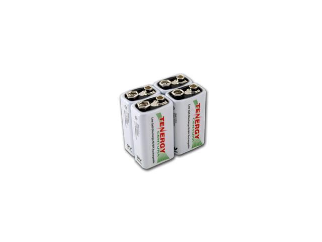 Combo: 4pcs Tenergy Centura NiMH 9V 200mAh Low Self Discharge Rechargeable Batteries